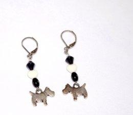 Handmade dog earrings, scottie dog charm, black glass beads, white glass heart