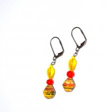 Handmade yellow earrings, yellow glass teardrop, orange glass round, yellow paper bicone