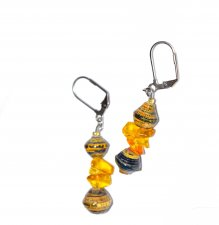 Handmade yellow earrings, mismatched, yellow glass chips, yellow and navy rolled paper beads