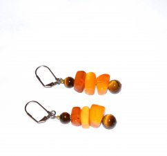 Handmade amber earrings, amber rounded rectangles and tigers eye beads