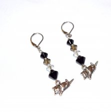 Handmade cat earrings, Czech faceted crystals, black glass bicones, reclining cat charm