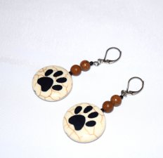 Handmade pawprint earrings, tigerskin jasper beads, pawprint on stone composite bead, black seed beads