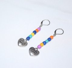 Handmade pawprint heart earrings, mismatched multicolored wood beads, heart charm with Best Friend and pawprint
