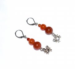 Handmade crab earrings, red agate beads, crab charm