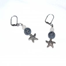 Handmade starfish earrings, blue cracked agate bead, white Czech druk  glass bead, starfish bead