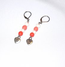 Handmade cat lovers earrings, coral wood, white heart and round beads, cat lovers pawprint heart charm