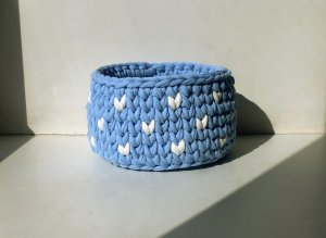 "Crochet basket ""cloudy sky"""