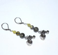 Handmade green tractor earrings, serpentine beads, tractor charm