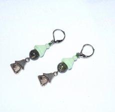Handmade green earrings, mushroom house charm, serpentine bead, green Czech glass