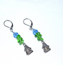 Handmade blue and green earrings, mushroom house charm, green glass chips, faceted blue glass bead