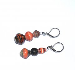 Handmade mismatched earrings, orange and green rolled paper beads, serpentine bead