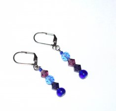 Handmade purple and blue earrings, mismatched purple and blue Czech faceted crystals, blue glass beads