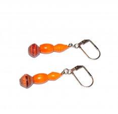 Handmade orange earrings,orange vintage wood tube, mismatched orange  and maroon rolled paper beads