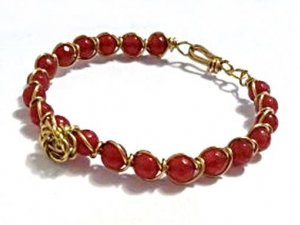 Red Jade Bracelet, Wire Wrapped Bracelet, Rose Accent Bracelet, Gold Flower Bracelet, Gemstone Bracelet, Unique Bracelets, Birthday Gift