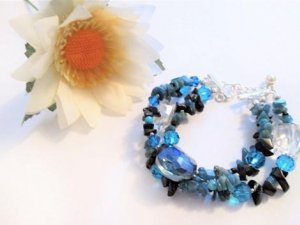 3 Row Bracelet, Multi Strand Beaded Bracelet, Multi Strand Bracelet, Gemstone Chips Bracelet, Gemstone Bracelet, Crystal Bracelet, Bracelet