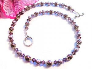 Pearl Necklace, Pearl Necklaces for Women, Purple Necklace, Crystals and Pearl Jewelry, Elegant Necklace, Single Strand Necklace, Gifts