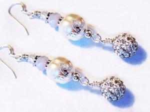 White Pearl Earrings Sterling Silver, Mid Century Sterling Silver Earrings, Wedding Jewelry for Brides, Pearl Earrings Bridesmaid, Dangle