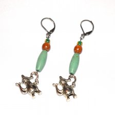 Handmade teapot earrings, green magnesite oval tube, brown wood bead,teapot charm