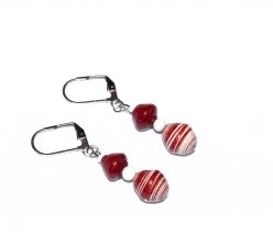 Handmade maroon and white earrings, rolled paper and opaque white glass beads
