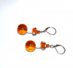 Handmade mushroom earrings, brown glass round and seed beads, brown and white glass mushrooms