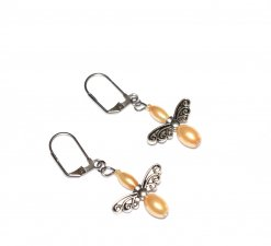 Handmade fairy wings earrings, moonlight gold glass pearls and fairy wings beads