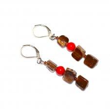 Handmade brown earrings, brown mother of pearl chips, red  glass bead, brown seed beads