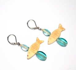 Handmade fish earrings, translucent aqua glass beads, tan fish carved bone beads