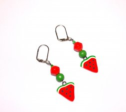 Handmade watermelon slice earrings, red paper bead, green wood bead, watermelon slice charm