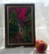 """Beautiful embroidered picture """"autumn city"""""""