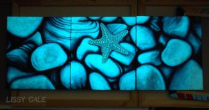 Set of 3 Original Starfish Glow in the Dark Paintings, Original Painting, Acrylic on Canvas, Sea, Stones, Nature, Glow in the Dark, Painting