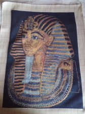 THIS KING TUT PICTURE a beautiful finished Bulgarian Needlepoint goblin comes unframed
