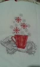 """This Christmasy CUP OF CHEER is a beautiful completed cross stitch and black work picture ready for framing size 8""""x 10"""""""