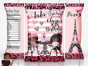 Paris Birthday Party, Paris Chip Bag, Paris Baby Shower, Paris Sweet 16, Paris Party Favors, Paris Party Decor, Digital