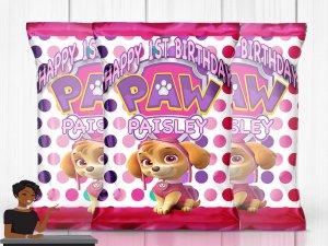 Skye Paw Patrol Chip Bag,  Paw Patrol Birthday Party, Skye Paw Patrol Birthday Party, Custom Chip Bag, Favor, Decor, 1st Birthday