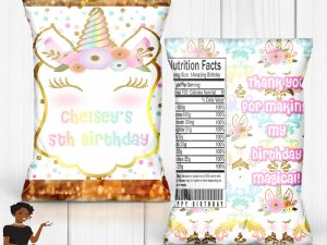Unicorn Chip Bag, Treat Bag, Unicorn Birthday Party, Magical Birthday Party,  Custom Chip Bag, Digital, Printed and Shipped