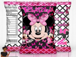 Minnie Mouse Inspired Birthday Party, Minnie Birthday, Minnie Mouse Chip Bag, Minnie Mouse Party Favor, Minnie Mouse Party Decor, Chip Bag
