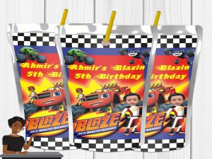 Blaze and the Monster Machines Birthday Party, Juice Label, Party Favor, Party Decor, Kids, Custom, Digital or Printed and Shipped