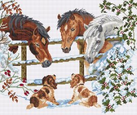THIS SNOW HORSE is a 14 count cross stitch kit with 100% cotton threads