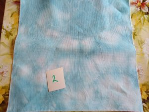 THIS HAND DYED 14 count Aida Teal and White a fat quarter 50x50cm