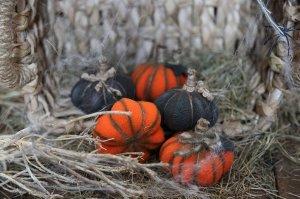 Halloween fabric stuffed rustic pumpkin . Small gift for Halloween. Halloween