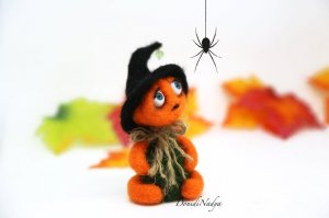 Halloween art doll needle felted pumpkin man, Halloween home decor Jack o lantern artist doll. Collectible Halloween pumpkin doll