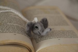 Needle felted bookmark elephant. Gift for her. Gift for him