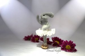 Grey fluffy bunny ballerina Arina. Collectible felted doll. Easter gift. Gift for a dancer. Housewarming gift.
