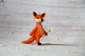 Needle felted fox Alexander needle felted small doll.