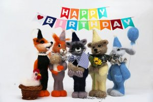 5 needle felted animals collection Forest birthday. Needle felted fox, squirrel, raccoon, bear and bunny. Collectible dolls.