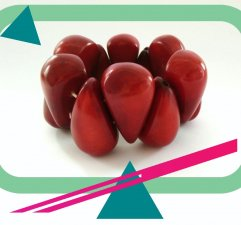 Designer Handmade Beaded Stretch Red Bracelet from Tagua