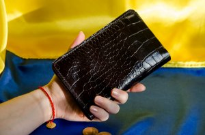 Portmone - Gallant - Mans Leather Wallet, Embossed Genuine Leather , Dark Brown Leather Clutch, Travel Wallet