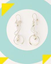 Art Designer Handmade Sterling Silver Geometric Chandelier Earrings