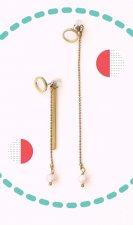 Designer Handmade Art Jewelry Long Assymetrical Dangle Earrings with Pearls