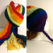 Adult size rainbow crochet matching hat and scarf set, pom pom, ear flaps, braids, fringe
